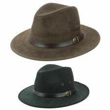 Fedora Hut Lederband Wildleder Effekt Schwarz Braune Kappe Stiff Firma