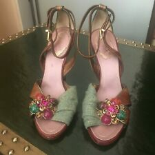Beautiful Rene Caovilla Green and Brown Shoes Heels Size 7