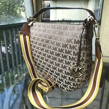 Michael Kors Women Jacquard Leather Crossbody  Shoulder Bag Handbag Purse Hobo