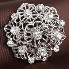 Fashion Jewelry Crysatl Charm Silver Flower Brooches Pins Weeding Bridal Bouquet