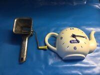 VINTAGE FRENCH HERB GRINDER PLUS VINTAGE  TETLEY TEA CLOCK