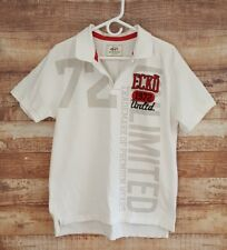 ECKO Unlimited Trademark Embroidered Graphic Logo Polo Shirt Size Lg White