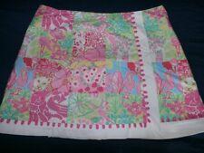 Lilly Pulitzer Skirt Women SZ 10 Faux Wrap Skort Via Parigi Patch Floral Lion