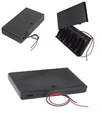 Box porta batterie 8 pile stilo AA fili 15 cm 9,6-12 V con interruttore