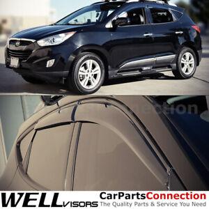 WellVisors Window Visors 10-15 For Hyundai Tucsun Side Deflectors Black