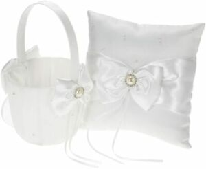 Ivory Satin Bowknot Ring Bearer Pillow and Wedding Flower Girl Basket Set