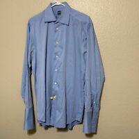 Ike Behar New York Mens Blue Flip Cuff Long Sleeve Dress Shirt Size L