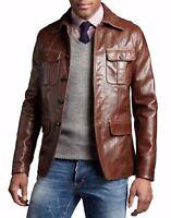 Brand New Men's Genuine Lambskin Leather Blazer Soft Brown Jacket Vintage Coat