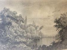 Goût Barbizon paysage étang forêt campagne crayon signature illisible XIXème