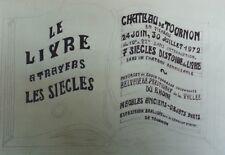 """""""LE LIVRE A TRAVERS LES SIECLES"""" Projet 1972 Dessin original sur papier 66x40cm"""