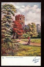 Tuck Shakespeare's Country walking the grounds Warwick Castle Uk postcard