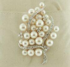 14K White Gold Pearl and Diamond Tree Pin