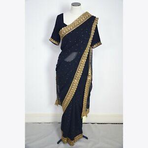 Zarkan Indian Designer Sale Saree Size M Black Golden Polyster **RRP £300**