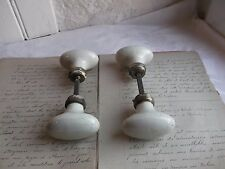 French set of 2 antique oval porcelain door knobs authentic charm