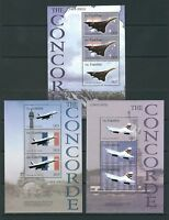 STAMPS THE GAMBIA 2003 The Concorde 3 sheets Mnh