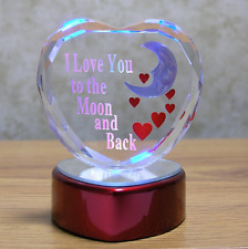Gift for Mothers Day Girl Wife Mom I Love You to the Moon and Back Heart Shaped