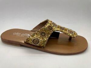 Ladies Shoes Elle effe Flat Thong Sandal Yellow multi Size 6