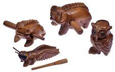 4 Klangtiere im Set (Frosch, Schwein, Zikade, Eule) Musik Percussion Instrument