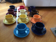 Lot of 11 Fiestaware Homer Laughlin Cups Saucers Assorted Colors - Excellent