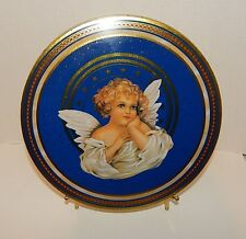 VINTAGE TIN LITHO CANDY TIN w ANGEL & STARS GRAPHICS, CHRISTMAS HOLIDAY  DECOR