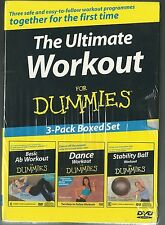 THE ULTIMATE WORKOUT FOR DUMMIES AB + DANCE WORKOUT STABILTY BALL NEW 3 DVD SET