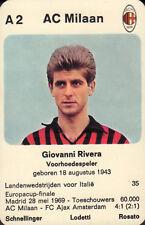 A.C. MILAN - GIOVANNI RIVERA #A2 1970 Dutch European Cup Card RARE