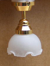 1:12 Scale Working Dolls House Miniature Ceiling Light With A Fluted Shade 4001