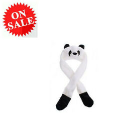 Panda Hat Adorable Winter Warm Soft Animal Hat With Poms Ear Long Flap Mittens