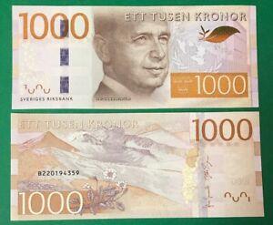 SWEDEN 1000 Kronor ND (2015) P-74 Dag Hammarskiöld UNO emblem UNC Banknote