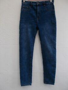 PULL & BEAR Blue High Waist Super Stretch Skinny Jeans Jeggings Sz 10/26.5L VGC