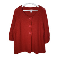 Chicos 3 Womens Cardigan Sweater Button Front Crochet Wool Blend Red Size XL