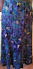 Marks & Spencer A-line Maxi Skirt Devore Blue Purple Velvet Size 10 Casual