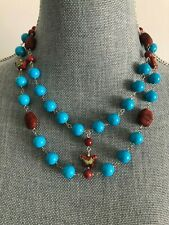 Chunky 2 strand turquoise, coral gem & cloisonne enamel beads designer necklace