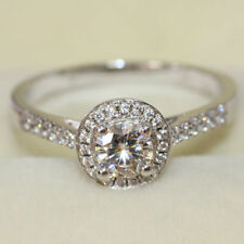 1.05Ctw Off White Round Moissanite Halo Engagement Ring In 925 Sterling Silver