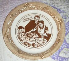 Vintage Pie Plate Norman Rockwell Freedom From Want 10 inch diameter Brown