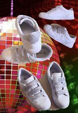 Sneaker  mit Glitzer an Klettverschlüssen u. Hacken ,  Weiß,  Graceland Gr.39