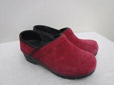 Dansko Professional 5.5 6 36 Raspberry Suede Staple Clogs Mules Slip On Shoes