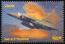 Swedish Air Force SAAB JA-37 VIGGEN Thunderbolt Aircraft Stamp (2003 Liberia)