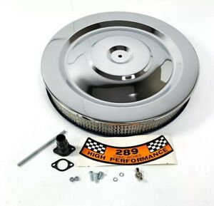 """Chrome HIPO Air Cleaner Assembly 5 1/8"""" Neck w/ 289 Decal For Ford & Mercury"""