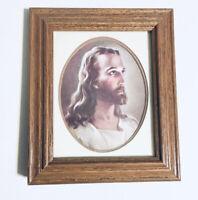 Wood/Glass Framed Double Matte/Mounted Sallman's Head Of Christ Lithograph Print