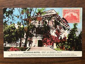 CARIBBEAN HAITI OLD POSTCARD SPLENDID HOTEL HAITI TO FRANCE 1935 !!
