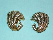 French Designer NINI RICCI Vintage Pave White Rhinestone Geometric Earrings