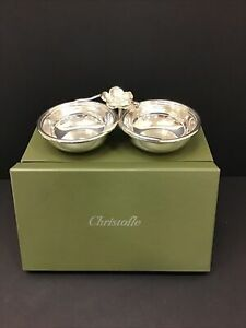 New Christofle Silver Plated Two Divided Dish Candy Nut Server Bowl Flower Top