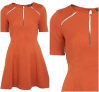 ex- Miss Selfridge Skater Fit & Flare Textured Occasion Dress
