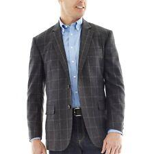 Stafford 100% Merino Wool Slim Fit Sport Coat Grey Plaid Size: 36R MSRP $200