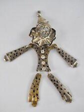 rhinestone enamel articulated vtg E51 Moving clown silver plate brooch pendant