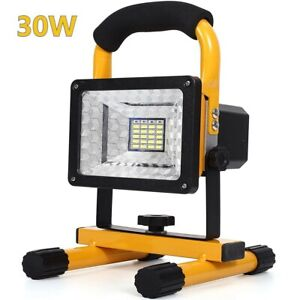 30W LED Rechargeable Cordless Work Site Flood Light Mobile Portable Camping Lamp