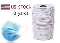 "10 yards Elastic Band 1/8"" Round Trim/Spandex/make mask string White 3mm"
