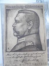 19142 Gedenkblatt Hindenburg zum 50. Geburtstag zum 2.Oktober 1917 Litho 23x15cm