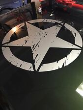 """Army Star distressed decal fits Jeep large 20"""" Vinyl military hood graphic body"""